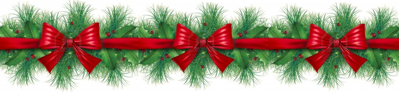 Pine and Red Ribbon Border